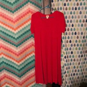 Red ribbed t shirt dress